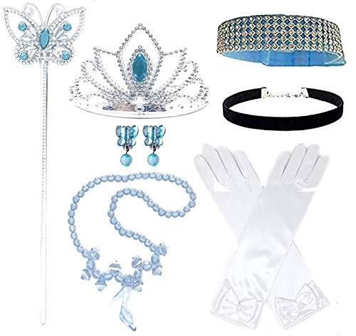 Princess Cinderella Dress up Party 4-Piece Accessories Gift Set (Blue)