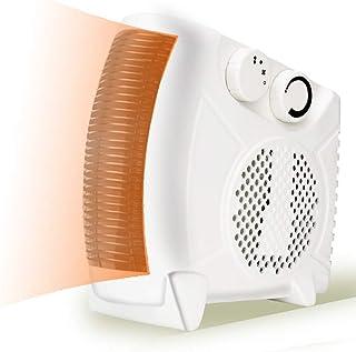 DULPLAY 1000 vatios Oscilante Ceramic Ventilador Calefactor, con termostato Ajustable Portátil 2 Modos Elemento de calefacción del PTC para salita de Escritorio-Blanco2 11x23x24.5cm(4x9x10inch)