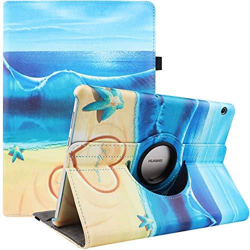 RLINGX Cover per Huawei MediaPad T5 10 - Girevole 360 Gradi di Rotazione Custodia Protettiva Stand Case per Huawei MediaPad T5 10 10.1 Pollici 2018 (Starfish)