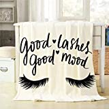 Mugod Good Lashes Good Mood Throw Blanket Hand Sketched Lashes Quote Decorative Soft Warm Cozy Flannel Plush Throws Blankets for Bedding Sofa Couch 40 X 50 Inch