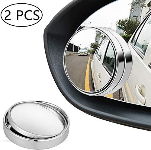 Kungfu Mall 2 piezas espejo de punto ciego espejo convexo 360 giratorio tipo presión de campo grande retrovisor ajustable para vehículos
