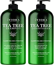 Tea Tree Shampoo and Conditioner Set by Fiora Naturals - Sulfate Free, Anti-Dandruff Shampoo for Dry, Itchy & Flaky Scalp - For all hair types, Men and Women (2 x 16oz)