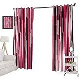 YUAZHOQI Cortina opaca para ventana, estilo contemporáneo, líneas de neón, bandas verticales a rayas en tonos cálidos, cortinas decorativas para sala de estar, 132 x 274 cm, multicolor