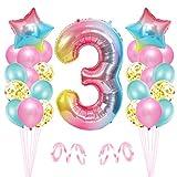 3er Cumpleaños Globos, Decoración de Cumpleaños 3 en Rosado, Cumpleaños 3 Año, Feliz Cumpleaños Decoración Globos 3 Años, Globos de Confeti y Aluminio para Niñas