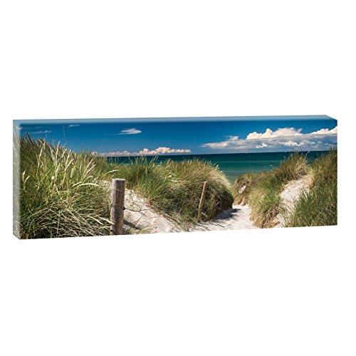 Querfarben Bild auf Leinwand mit Landschaftsmotiv Weg durch die Inseldünen   150 x 50 cm, Farbig, Wandbild, Leinwandbild mit Kunstdruck, Nordseebild mit Strandmotiv auf...