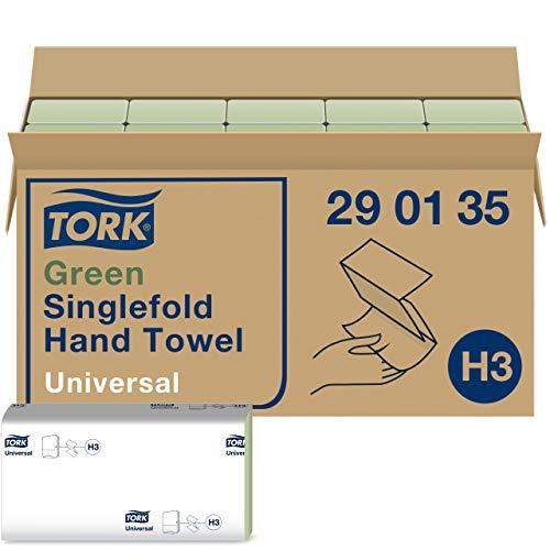 Tork grüne Zickzack Papierhandtücher Universal 290135 - H3 Falthandtücher für Papierhandtuchspender - 1-lagig, grün - 20 x 200 Tücher