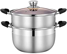 DIAOD Stainless Steel Steamer, 2 Tier Stainless Steel Induction Steamer Set, Toughened Glass Lid,Compound Pot Bottom