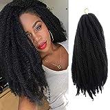 UNA Marley Hair For Twists 6 Packs Marley braiding Hair 20' Afro Kinky Marley Twist Braid Hair Extensions(20inch,6pcs, 1B)