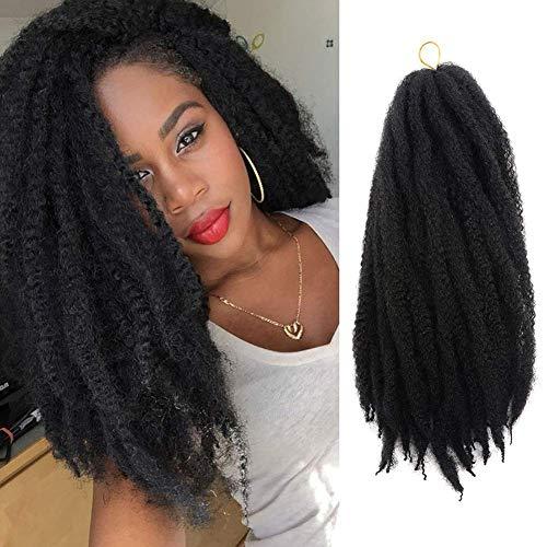 UNA Marley Hair For Twists Marley Braiding Hair Marley Braid Crochet Hair Long Afro Kinky Marley Twist Braid Hair Extensions 100% Kanekalon Synthetic Fiber (18inch,6pcs, 1B)
