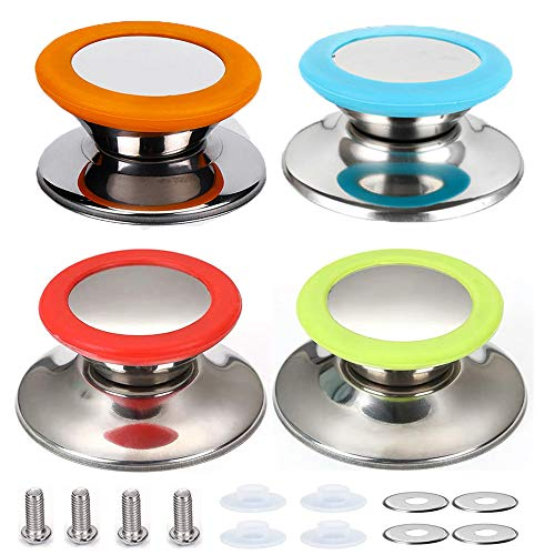 4 Piezas Perilla La Tapa La Cacerola, Perillas Repuesto, Cocina Universal Cocina para Tapa Olla botón(Rojo, azul, verde, naranja)