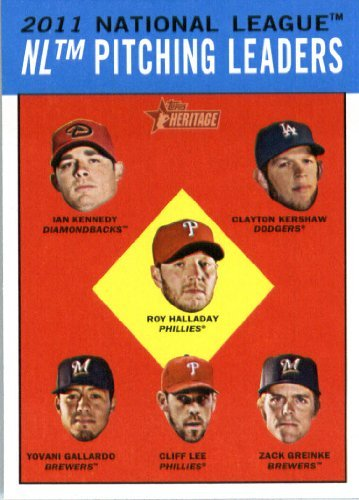 2012 Topps Heritage Baseball Card #7 Ian Kennedy/Clayton Kershaw/Roy Halladay/Yovani Gallardo/Cliff Lee/Zack Greinke LL (NL Pitching League Leaders)