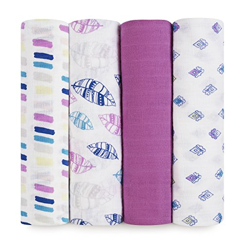 aden + anais Classic Swaddle Baby Blanket, 100% Cotton Muslin, Large 47 X 47 inch, 4 Pack, Wink