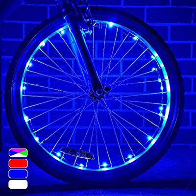 Rezshop Bicycle Wheel Lights - Blue Bike Spoke Lights Stocking Stuffers for Men Top Presents Ideas for Brother Dad Christmas Bike Accessories for Kids boy 1 Tire Pack Batteries are Included