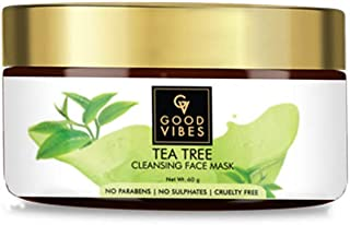 Good Vibes Tea Tree Cleansing Mask - 60 g - Improves Complexion, Reduces Acne, Cleanses Pores and Clears Impurities - Crue...