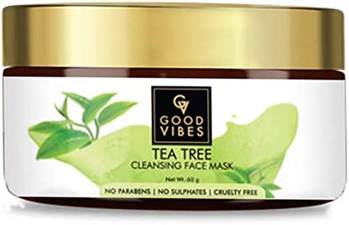 Good Vibes Tea Tree Cleansing Mask 60 g Improves Complexion Reduces Acne Cleanses Pores and Clears Impurities Cruelty Free