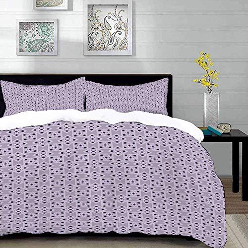 ropa de cama - Juego de funda nórdica, vintage, remolinos ornamentales y estrellas en rombos Ilustración en colores pastel, lila púrpura oscuro, juego de funda nórdica de microfibra con 2 fundas de al