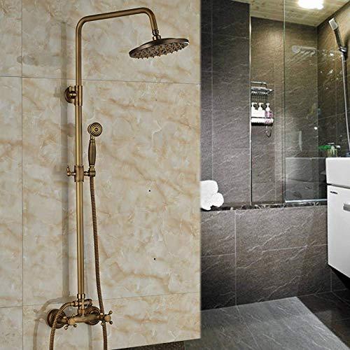 ZCYXQR Sistema de Ducha de latón Antiguo de 8 Pulgadas, Sistema de Grifo de Ducha de Lluvia para baño, manijas Dobles con Ducha de Mano de latón, Chocolate (baño en casa)