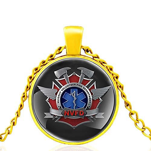 Vormundschaft Des Feuers Rettungssanitäter Glaskuppel Metall Klassische Halskette Retro Männer Und Frauen Schmuck Geschenkkette Länge 80Cm