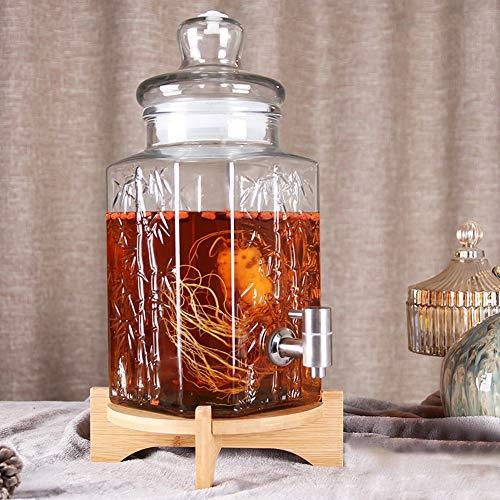 Glazen verzegeld kan siliconen afgedicht drankdispenser met lekvrije spigot stabiele stand en glazen deksel voor limonade/thee/koud water A~