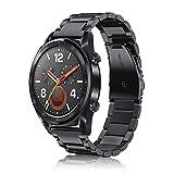 FINTIE Bracelet Compatible avec Huawei Watch GT/Huawei Watch GT 2 / Huawei Watch GT Active - Bracelet de Montre en Acier Inoxydable Wrist Band Montre Strap Remplacement avec Métal Fermoir, Noir