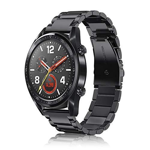FINTIE Cinturino Compatibile con Huawei Watch GT/GT 2 / GT Active/GT Elegant Smartwatch - Cinturini di Ricambio in Acciaio Inossidabile Banda con Fibbia di Metallo, Nero