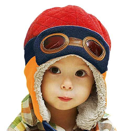 Yuson Girl Unisex Baby Mütze Earflap Schal Strickmütze Warm Wintermütze Baby Pilot Cap Kinder Cute Warme Kappe Hut Beanie mit Ohren für Kleinkind Hüte 1-6 Jahre