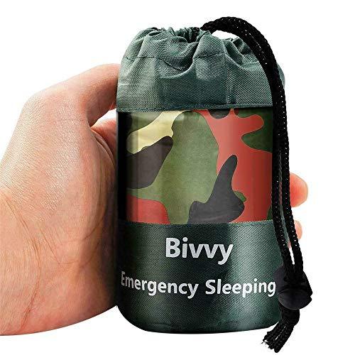 Camuflaje impermeable emergencia saco de dormir supervivencia térmica camping reutilizable