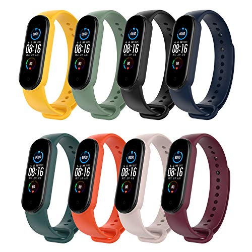 Bosixty Banda de Reloj de Repuesto Compatible con Xiaomi Mi Band 5 2020,Pulsera de Correa de Silicona Suave Colorida Pulsera Resistente al Agua Portátil Transpirable (8 Colores)