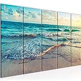 Playa decoración de la pared mesa y Mar - 200 x 80 cm Vista de impresión en lienzo Salón Apartamento - listo para colgar - 015555a