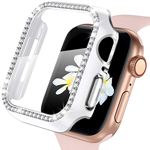 ZAROTO for Apple Watch case 40mm with Tempered Glass Screen Protector for iwatch Series 6/5/4/SE, Bling Crystal Diamond Rhinestone Bumper Full Cover Protective Case Women 40mm Sliver White