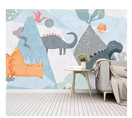 Kreativpark Benutzerdefinierte 3D-Wandtapete Nordische minimalistische handgemalte Karikatur Dinosaurier Planet Vulkan Kinderzimmer Hintergrund-5