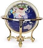 Kücheks Globo terráqueo, Gran Globo de Piedras Preciosas de Escritorio, decoración del hogar, Globo terráqueo, para educación geográfica Moderna, Azul (A) -33cm