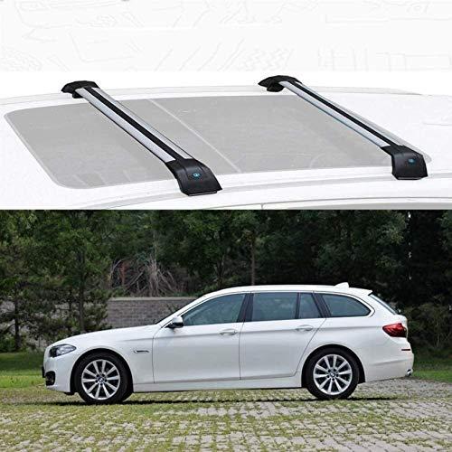 Barras Transversales para Techo De Múltiples Ajustes Rieles Al RAS Barras Transversales Accesorio con Cerradura De Aluminio Compatible con Techos 1 Par Plateado, For BMW 5 Touring 2016