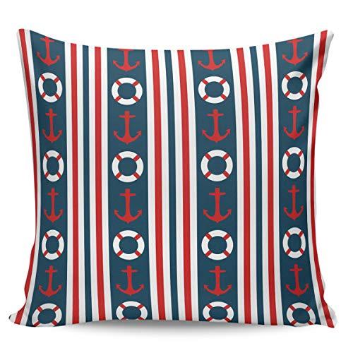 Fundas de almohada de 60,96 x 60,96 cm, diseño de rayas, color rojo, blanco y azul