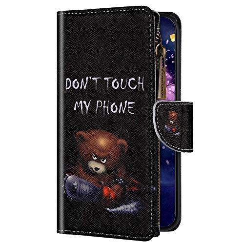 Uposao Kompatibel mit Huawei P30 Lite Hülle Geldbörse mit Reißverschluss Handyhülle Bunt Retro Muster Klapphülle Flip Case Cover Schutzhülle Lederhülle Kartenfächer Magnet,Bär