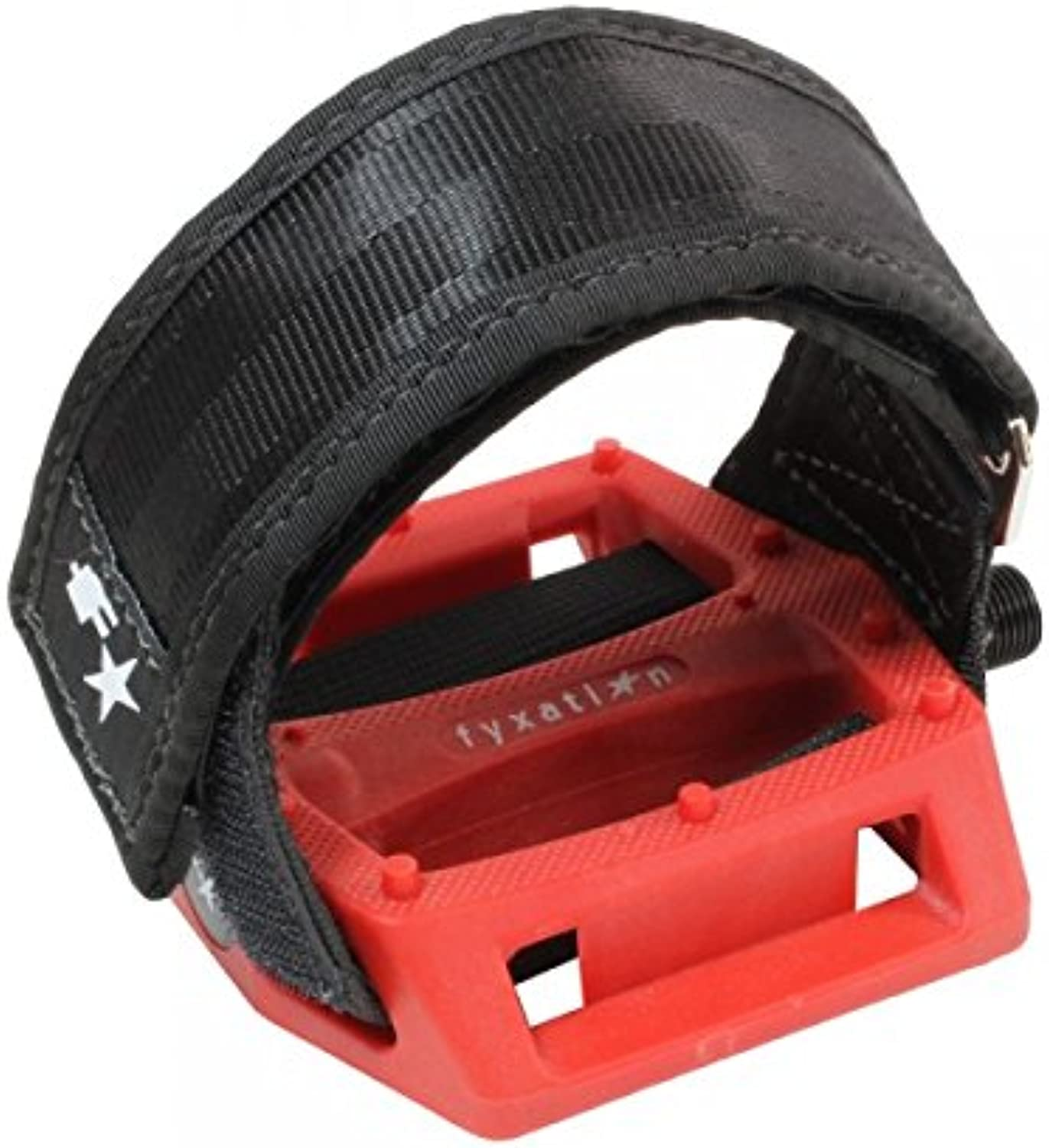 Fyxation Gates Pedal Strap Kit with Red Pedal and Black Straps