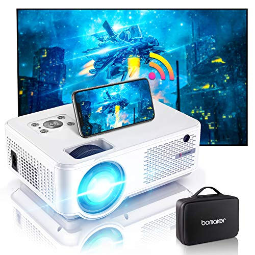 Bomaker mini Beamer C9, 7000 Full HD 1280P Support, 4K wifi Heimkino Beamer mit 300'' Display 90.000 Stunden, kompatibel mit PS4 / TV-Stick/ Smartphone Gaming und Filmen Projektor für draußen