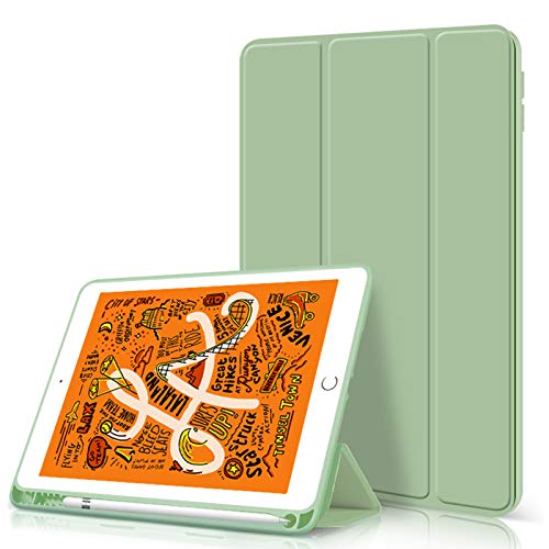 ZOYU iPad 10.2 Case 2020/2019 with Pencil Holder,Slim Lightweight Trifold Stand Smart Shell Soft TPU Back Cover,Auto Sleep/Wake for iPad 10.2 inch 8th&7th Generation (Green)