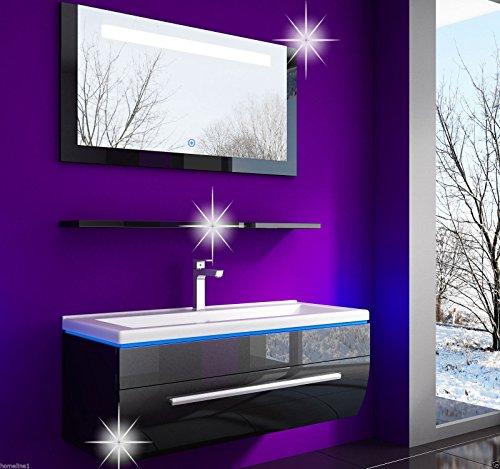 Atlantis Badmöbel Set Komplett Set Schwarz Hochglanz lackiert Fronten Spiegel mit Beleuchtung mit Waschbecken 90 cm