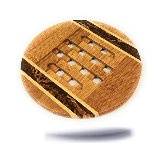 Kerafactum eleganter dekorativer Untersetzer aus Natur Holz Bambus rund Ø 16 cm Bambusuntersetzer für Töpfe Vasen Kessel Topfuntersetzer Bamboo pan Coaster gemasert und geschlitzt aus Bambusholz