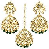 Aheli Indian Traditional Wedding Faux Kundan Beads and Pearls Chandbali Earrings Maang Tikka Earrings Set Ethnic Bollywood Jewelry Set for Women (Green)