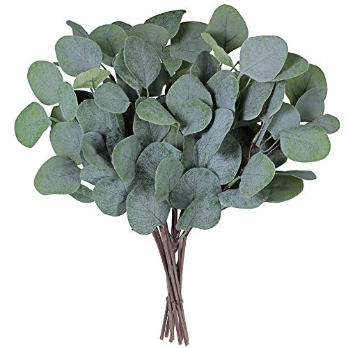 "Supla 10 Pcs Fake Eucalyptus Leaves Stems Bulk Artificial Silver Dollar Eucalyptus Leaves Plant in Grey Green 11.8"" Tall Wedding Greenery Artificial Greenery Holiday Greens Floral Arrangement"