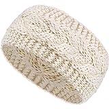 Diadema de Invierno Diadema de Punto de Cable de Lana Calentador de Orejas Banda de Pelo para Mujeres (Beige)