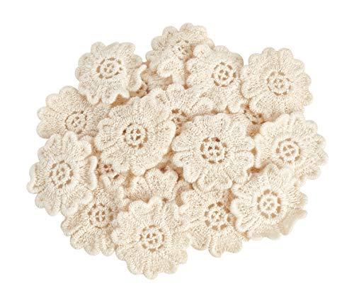 25 Blumen Blüten Häkel Streuteile 3,5cm Baumwolle creme VBS Großhandelspackung