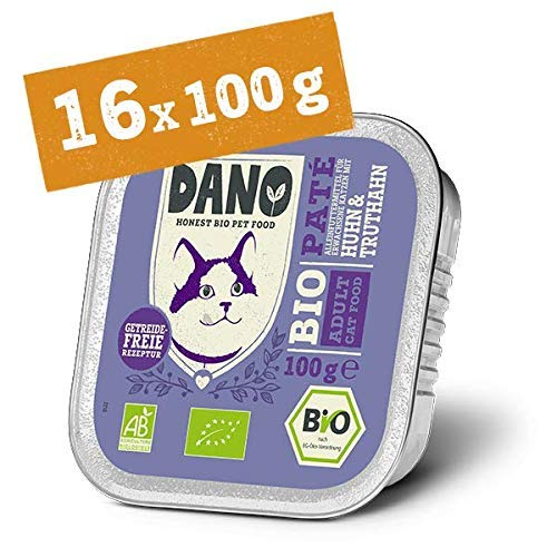 DANO Bio Pastete für Katzen mit Huhn und Truthahn - 16 x 100 gr - für Katzen aller Rassen und Altersgruppen - Getreidefrei - Frei von Künstlichen Zusatzstoffen - mit Bio Aloe Vera