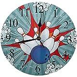 LUHUN Reloj de Pared Moderno,Único Retro Comic Cartoon Ball Crash Image Pop Stars Aim Party Game,Reloj de Cuarzo de Cuarzo Redondo No-Ticking para Sala de Estar 30 cm