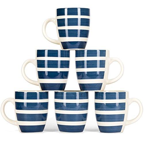 LVKH Blau Gestreifte Kaffeebecher-Set - Hand Made Steingut Keramik (375ml, 6 Stück)