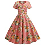 Cocktail Dress Women's Elegant Vintage Short Sleeve Print Dress A-Line Floral Casual Basic Dress 1950s Hepburn Rockabilly Evening Party Prom Swing Dress Red