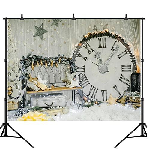 Sfondi natalizi scintillanti grande orologio panchina argento valigia stelle sfondi vinile 2,1 x 1,5 m