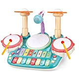 TOONEV Baby Musical Instruments Toys,Kids Drum Set Electronic Piano Keyboard and Xylophone 3 in 1 Multifunction Toddler Toys with Drum Sticks Microphone and Light Musical Toys Gift for 1-8 Years Old